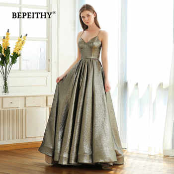 BEPEITHY V Neck Glitter A line Evening Dresses Party 2019 Robe De Soiree Sexy Backless Long Prom Dress Gown Gala Jurken - DISCOUNT ITEM  37% OFF All Category