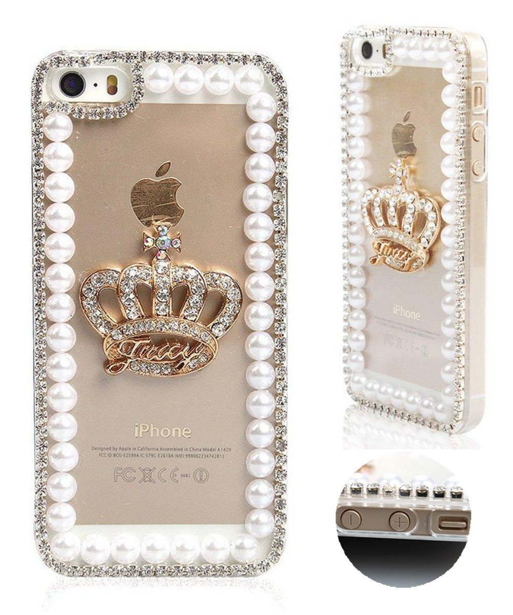 Bling Crystal Golden Imperial Crown Rhinestone Pearl Diamond Sparkle Hard Case Cover for iPhone4s 5S 5C 6/6 Plus 7/7 Plus