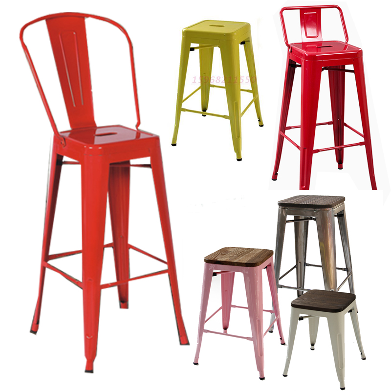 Gentil European Simple Metal Bar Stool Stool Tall Wrought Iron Chairs Industrial