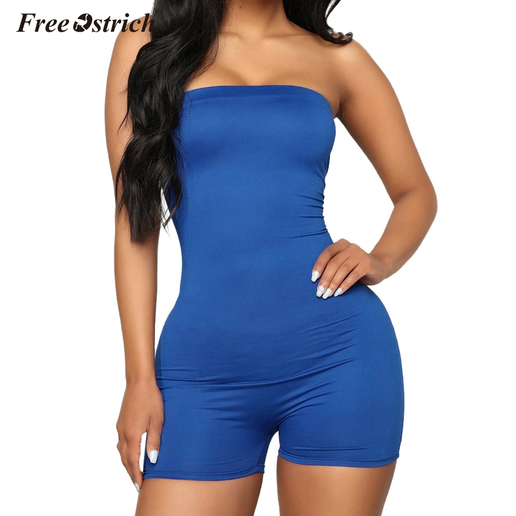 Free Ostrich Fitness Casual Playsuit Sleeveless Rompers Womens   Jumpsuit   O Neck Fashion Summer 2019 Solid Playsuits N30