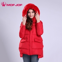 Winter jacket women warm coat with big fur hoodie coat