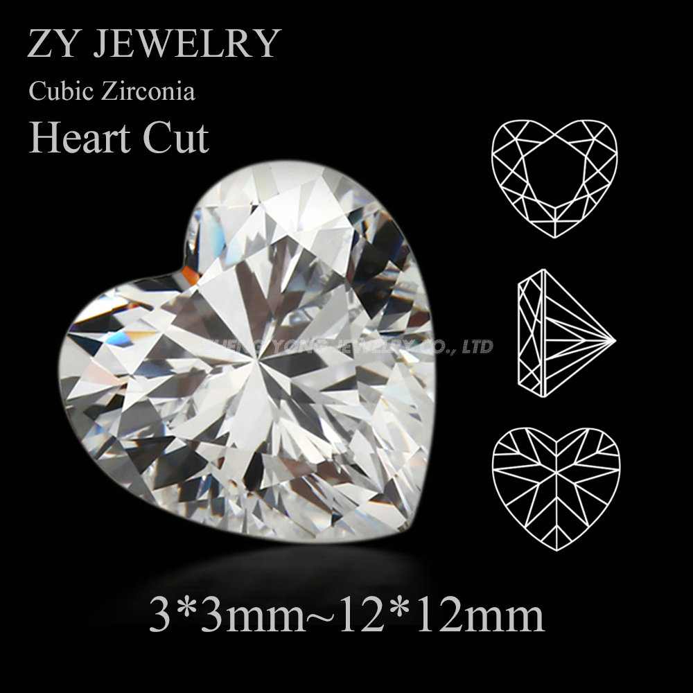 50pcs/lot 5A CZ Stones 3*3mm~12*12mm Heart Cut White Cubic Zirconia Heart Shape Synthetic Gems Stone For Jewelry DIY