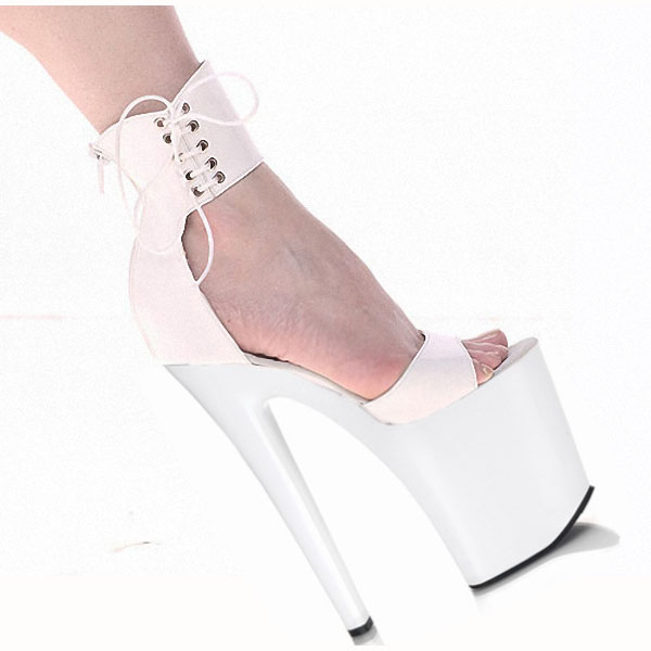 Classic 20CM Sexy Gladiator Super High Heel Platforms Pole Dance Model Shoes 8 inch ankle wrap dress Wedding Shoes women pumps17cm sexy gladiator super high heel platforms pole dance performance star model shoes wedding shoes free shipping