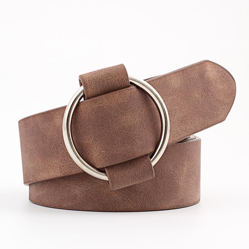 Женский кожаный ремень, новые круглые пряжки, ремни для женщин, для досуга, джинсы, дикие, без шпильки, металлическая пряжка, женский ремень - Цвет: Style 1 Coffee