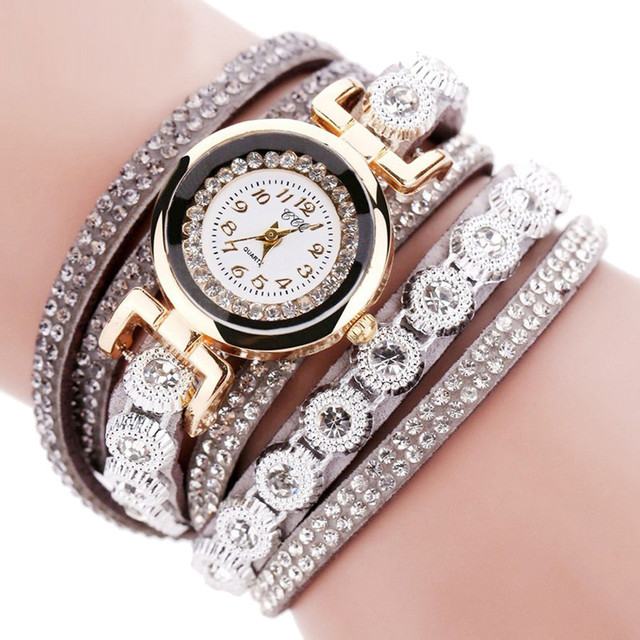 2017 New Women Fashion Casual AnalogQuartz Women Rhinestone Watch Bracelet Watch