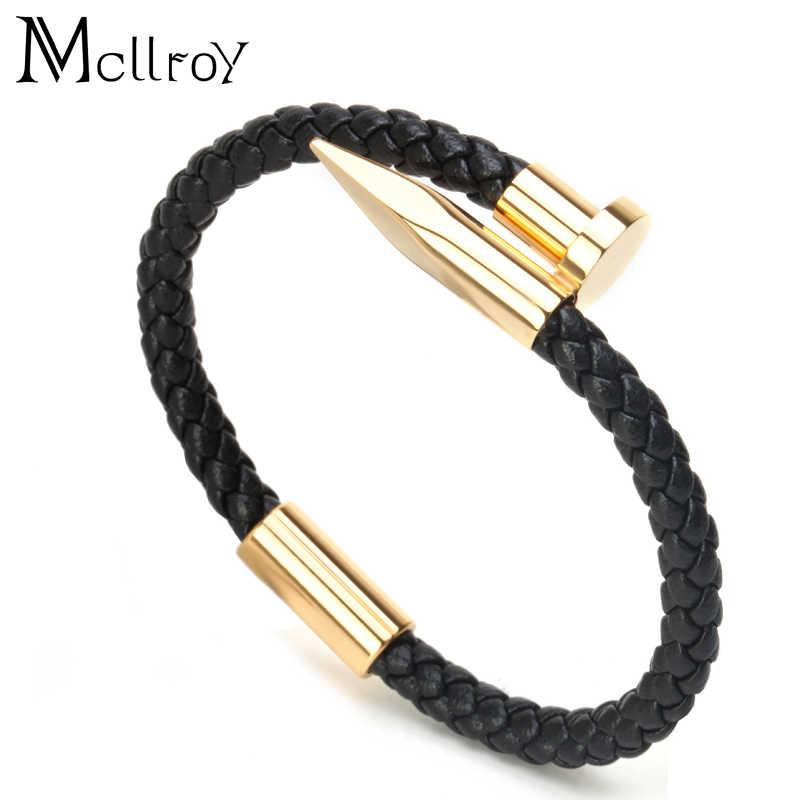 4d4668e14dd9 Pulsera Mcllroy para hombre/cuero/oro/acero inoxidable/pulseira masculina  6mm tejido de cuero genuino encanto de uñas pulseras para hombre 2018