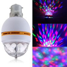 B22 3W RGB Rotating LED Stage Light Bulbs Disco Lamp Mini RGB 3W LED MP3 DJ Club Pub Disco Party Music Stage Light
