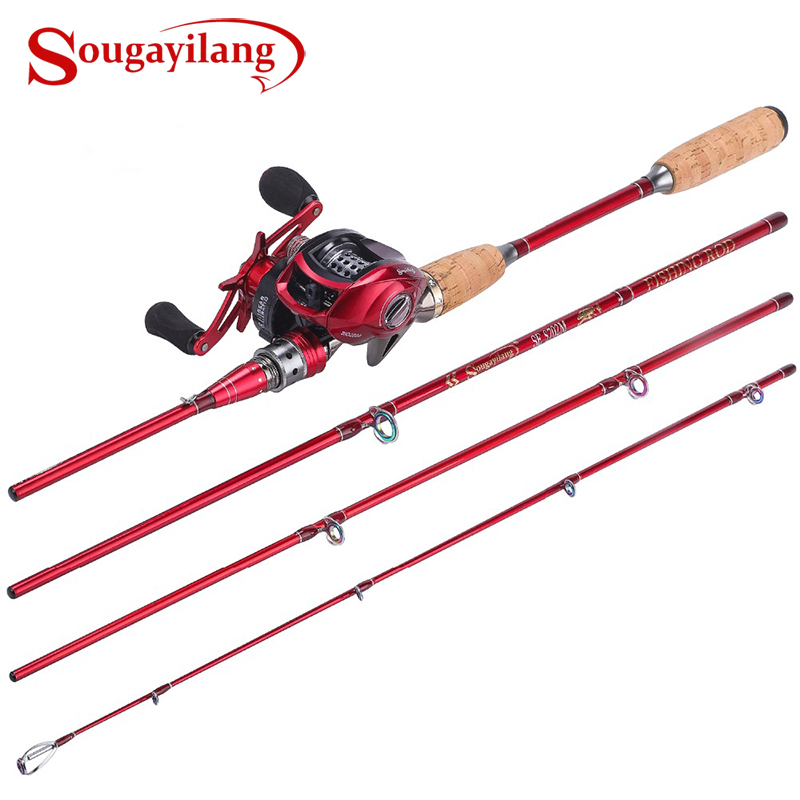 Sougayilang 2 1M Fishing Rod with Baitcast Reel Combo Portable Casting Fishing Rod Pole with 12