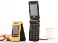 TKEXUN Flip Unlocked F666 Touch Screen flip big key voice Dual sim Dual screen senior mobile cell phone for old senior people