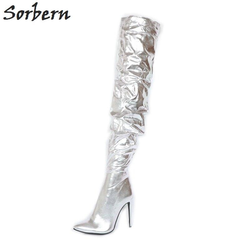 Lujo La Colores Mujeres Sorbern Brillante Sobre Diseñador Plata Primavera T Botas Doble Rodilla Las De Marca Zapatos Botines Mostrar qBqwCOxYU