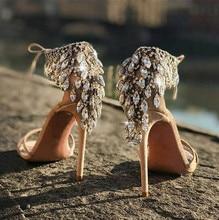 цена Luxury Crystal Fringe Back Women Open Toe Sandals Fashion Green Silk Straps Ladies Sexy High Heels Summer Hot Lace Up Sandals онлайн в 2017 году