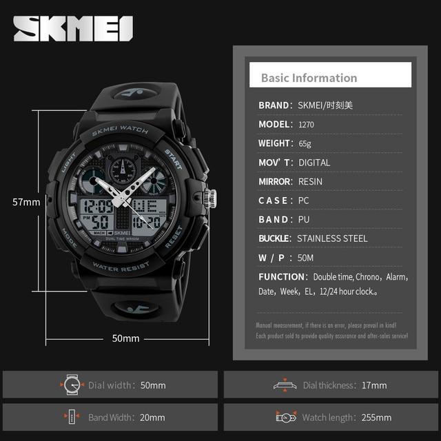 SKMEI Luxury Brand Men Sports Watches Digital Led Men Wristwatches 50m Water Resistant Relogio Masculino Quartz Watch For Man 5