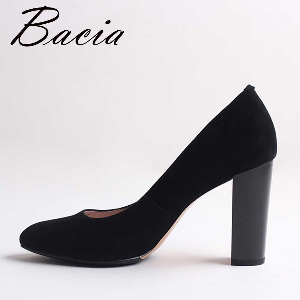 8ffe79b96 ... Bacia/замшевые туфли-лодочки из овечьей кожи черного цвета на толстом  каблуке 9, ...