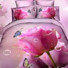 Hot Pink French Rose Bedding Set Queen King Size Cotton Quilt Cover Bed Sheets 3D Flower and Butterfly Bedroom Sets for Girls