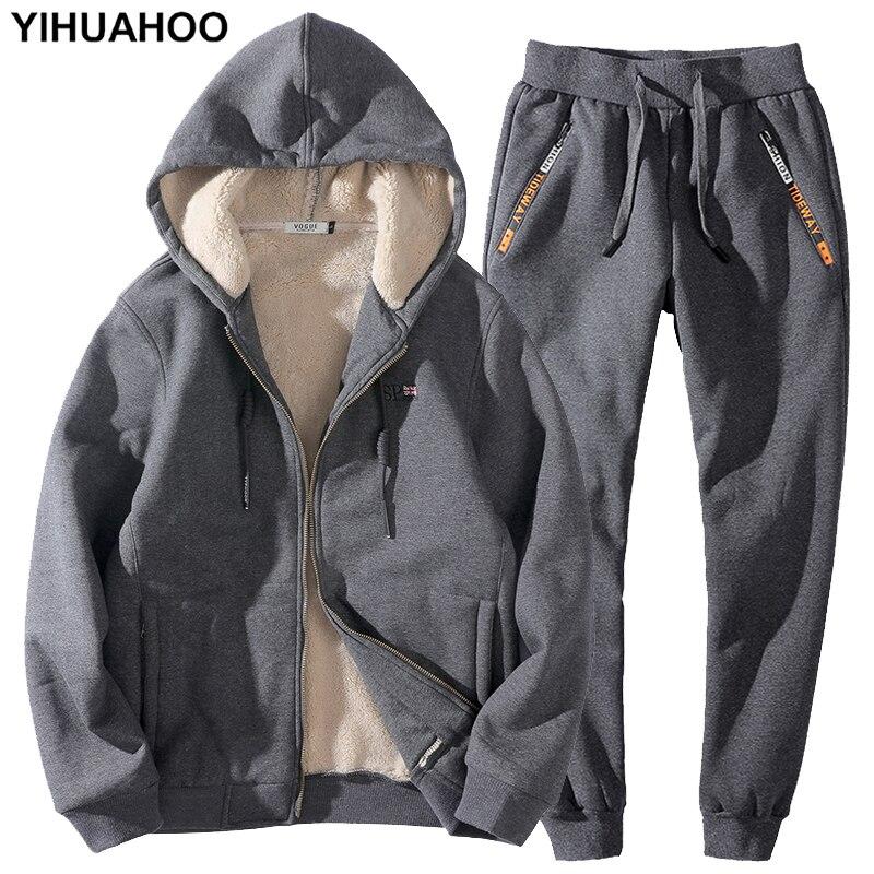 Winter Tracksuit Men 7XL 8XL Two Pieces Clothing Set Casual Track Suit Sweatsuit Thick Fleece Fur Cotton Hoodies Sweatshirt Men