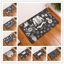 Alfombra de baño Vintage nórdico ciervo árbol Feliz Navidad alfombras decorativas antideslizantes Sala coche piso Bar alfombras puerta hogar Decoración regalo