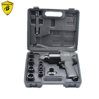 Borntun 1/2 Double hammer Pneumatic Air Impact Wrench with Socket 2 Hammer for Car Tyre Repairing Maintenance 650Nm Max. Torque