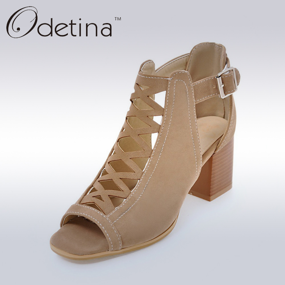 Odetina 2017 Genuine Leather Women Gladiator Sandals Women Plus Size 33-43 Chunky Heel Sandals Ankle Strap Open Toe Summer Boots odetina 2017 genuine leather gladiator sandals women flat peep toe sandals rivets ankle strap buckle summer shoes big size 34 43