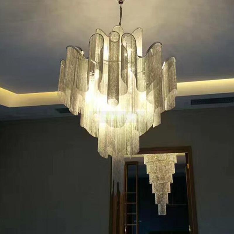 Akışı püskül projesi ışık alüminyum zincir vintage el - İç Mekan Aydınlatma - Fotoğraf 5
