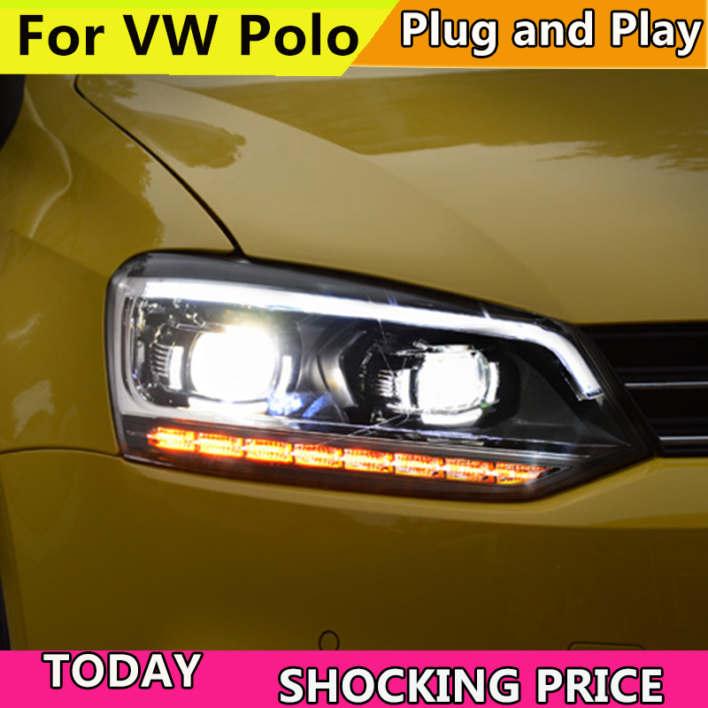 Car Styling Head Lamp for VW Polo LED Headlight 2011-2017 New Polo DRL H7 D2H Hid Option Angel Eye Bi Xenon Beam free shipping for vland car styling head lamp for vw golf 7 headlights led drl led signal h7 d2h xenon beam