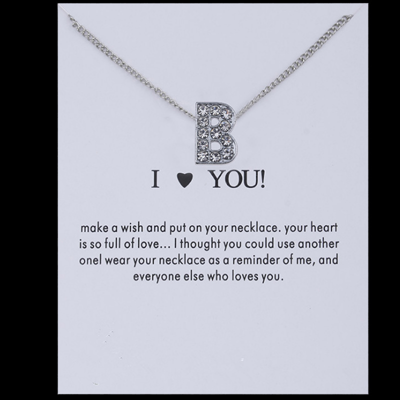 Sale 1PC Fashion Silvery Shiny Charms Necklace crystal Pendant letters Personalized Letters Necklaces Women Jewelry