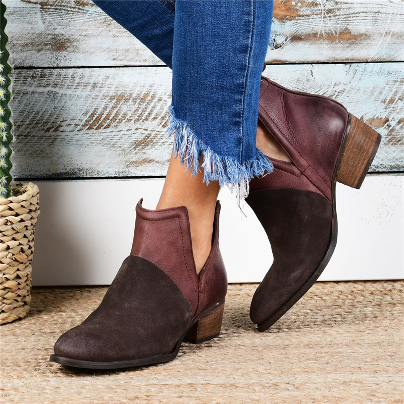 Women Suede Mide Chunck Heels Martin Boots Antumn Short Ankle Shoes Fashion New