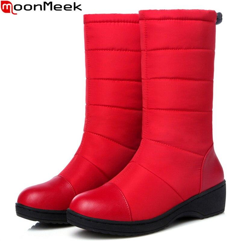 MoonMeek nero blu punta rotonda stivali donna inverno Giù impermeabile mantenere scarponi da neve calda stivali platform metà polpaccio stivali più il formato 35-44