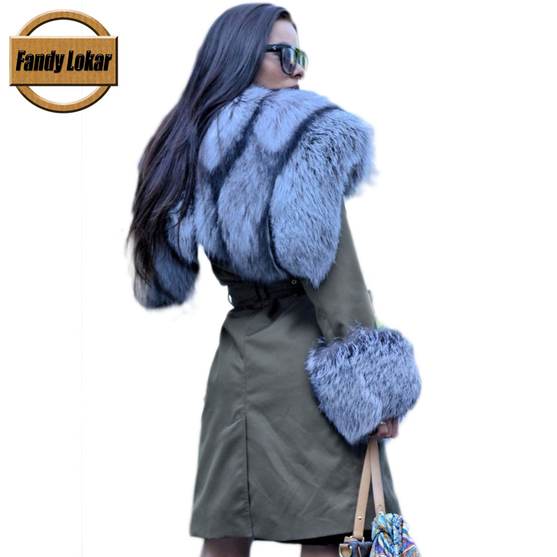 Fox Fur Collar Hooded Coat With Belt Women Winter Real Rex Rabbit Fur Liner Loose Warm Jacket Women Fur Parka Female Ladies printed long raccoon fur collar coat women winter real rabbit fur liner hooded jacket women bomber parka female ladies fp896