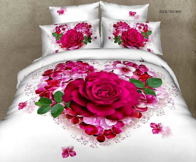 Twin Full Queen Size 3d Fancy Bedding Printed Bed Sheets Rose Red Rose  Flowers Cotton Bed