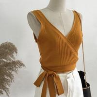 V הצוואר Slim חולצות קיץ 2017 גברת חמה מחשב סרוג צמרות טיז צבע אחיד אופנה נשים בסגנון קצר WQ299