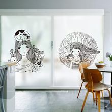 DICOR Creative Solid Color Stained Window Decorative Film Beautiful Girls Fairy Tale Anime Poster Glass Sticker 2019 New BLT830