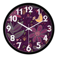 Purple Flowers Living Room Quiet Quartz Wall Clock Home Decoration Bedroom Fashion Creative Wall Clocks