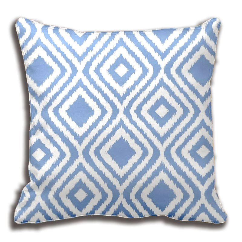Light Blue Patterned Throw Pillow : Light Blue Tribal Ikat Diamond Pattern Throw Pillows Decorative Cushion Cover Pillow Case ...