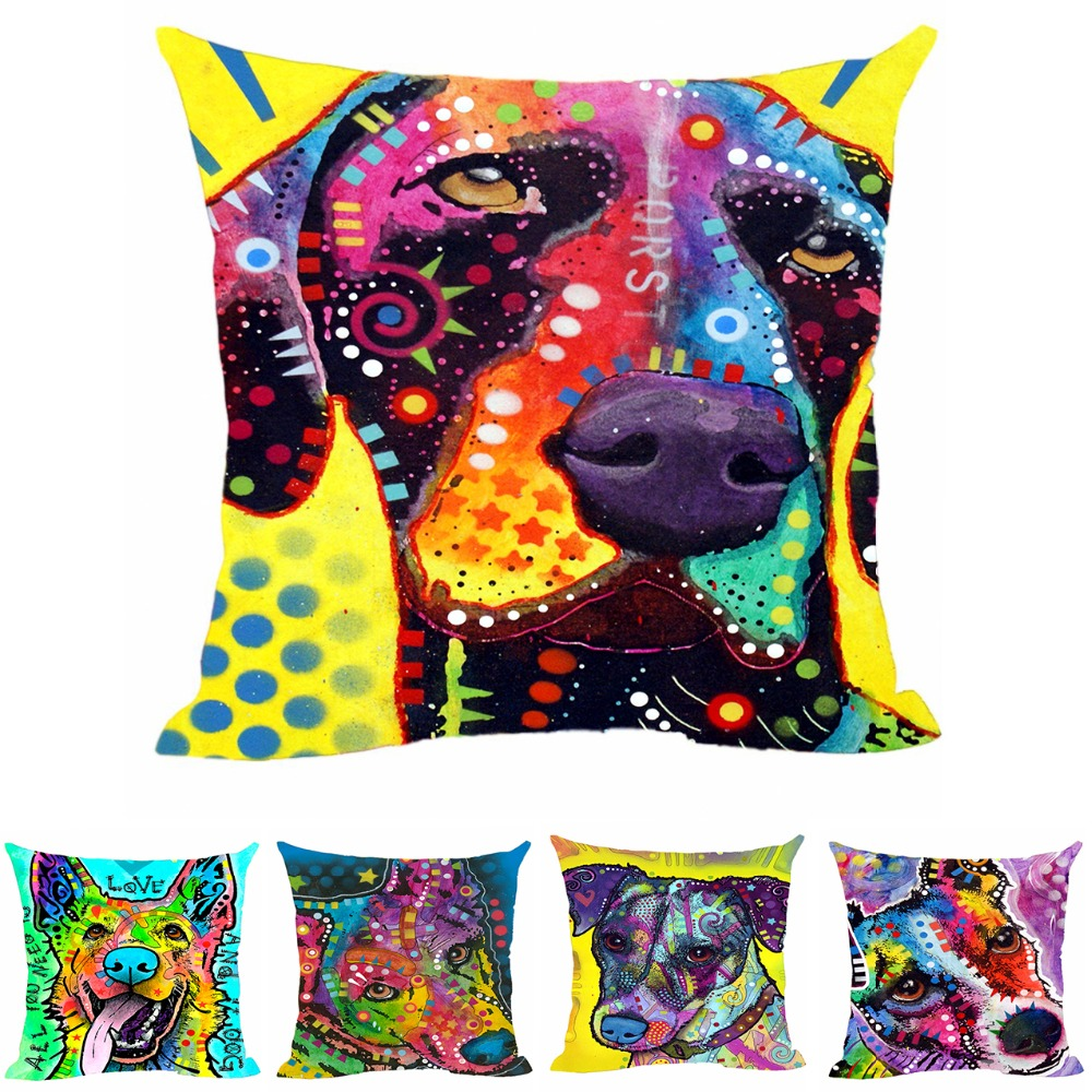 Arte Pastor alemán Pet Dog Throw Pillowcase Animal Style Funda de - Textiles para el hogar