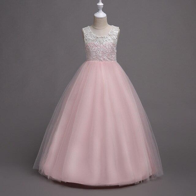 c3a464db85e0a Filles De Noël long étage longueur rouge rose bleu robe fille d hiver de  soirée