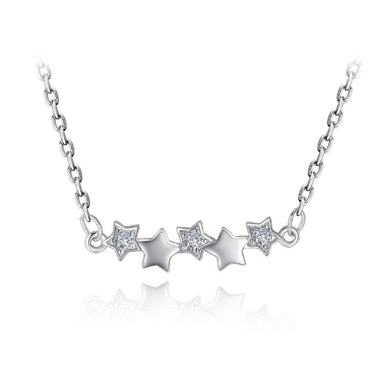 100% 925 sterling silver fashion little star crystal women short link chain jewelry ladies`necklaces jewelry no fade