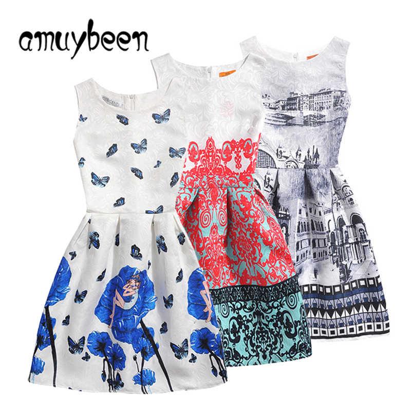 2b5c825fb Amuybeen 2019 niñas de verano vestido Casual patrón de impresión de Navidad  Fiesta de princesa niños