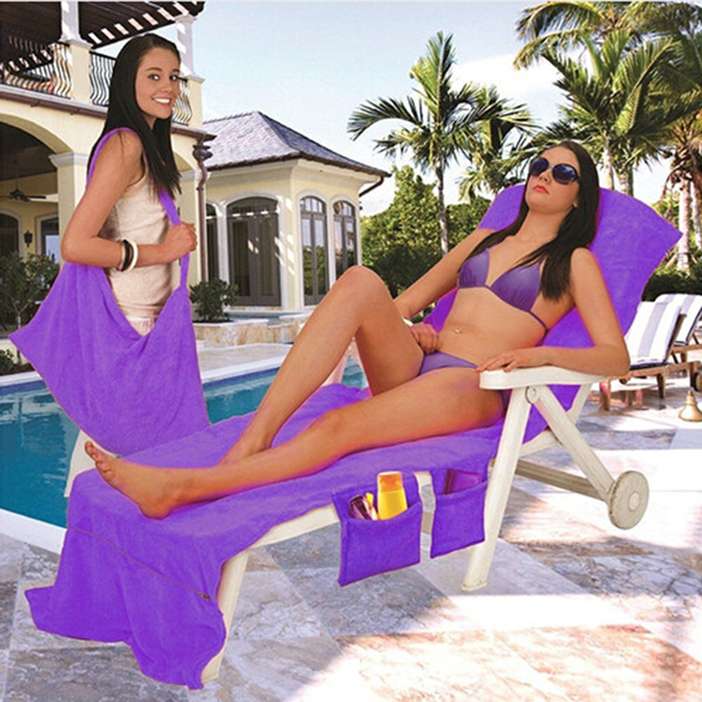 215x75cm Microfiber Fiber Sunbath Lounger Bed Lounger Mate Chair Beach Towel Holiday Leisure Garden Beach Towels Serviette