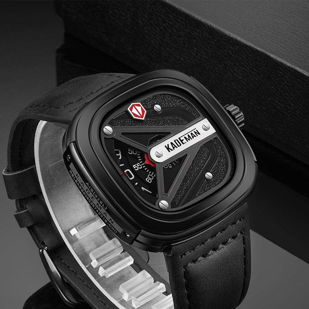 KADEMAN Unique Carré montre homme TOP Marque Militaire Sport Homme montre à quartz Nouveau Luxe En Cuir Étanche Main Horloge Relogio