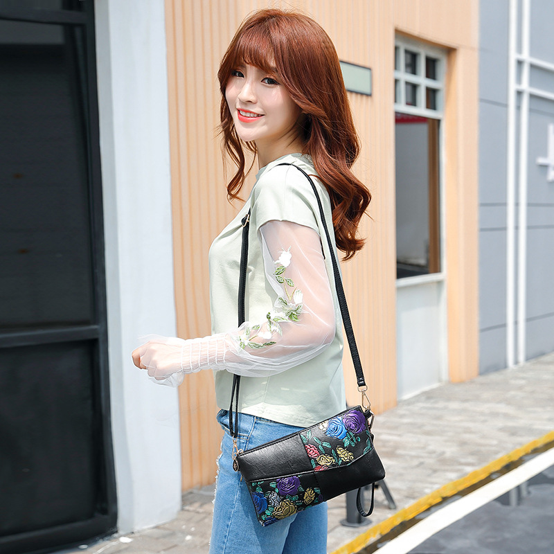 2019 Women Bag Female Shoulder Bag Flower Floral Crossbody Leather Zipper Pocket Messenger Handbags Mini Femme Designer Vintag 2