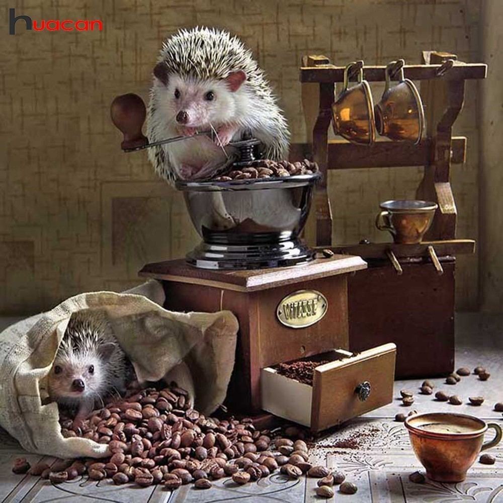 HUACAN 5D DIY Embroidery Diamond Painting Hedgehog Diamond Mosaic Animals Full Square Decor Picture Of Rhinestone Coffee GiftHUACAN 5D DIY Embroidery Diamond Painting Hedgehog Diamond Mosaic Animals Full Square Decor Picture Of Rhinestone Coffee Gift