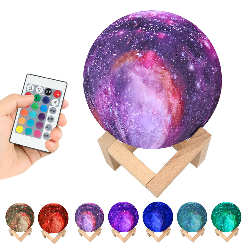 3D Print Galxy Moon Lamp 15CM 7 Color Change Starry Sky Night Planet Light Star Home Decoration Creative Gift