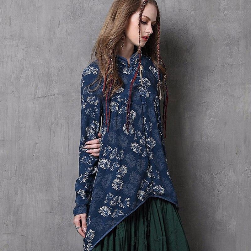 2018 Long Printemps Shirt Vêtements À Blouse Tops Gland Manches Vintage Cr Longues Femmes Cheongsam Floral Imprimer xF1q5RX