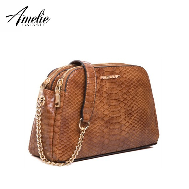 AMELIE GALANTI New Fashion Messenger Bags for Women Famous Design Crossbody Bags Serpentine Zipper Soft PU Falp Bag Lady 2018