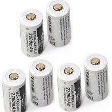 6 pcs 3.7 v 2200 mAh CR123A bateria de lítio recarregável 16340 da bateria