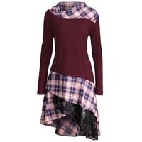Plus Size 5XL Long Tops Women Lace Plaid Panel Long Sleeve Shirts Casual Spring Autumn Ladies