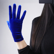 Black Velvet Gloves Grey Short 22cm Women High Elastic Flannel Fashion Elegant TB14