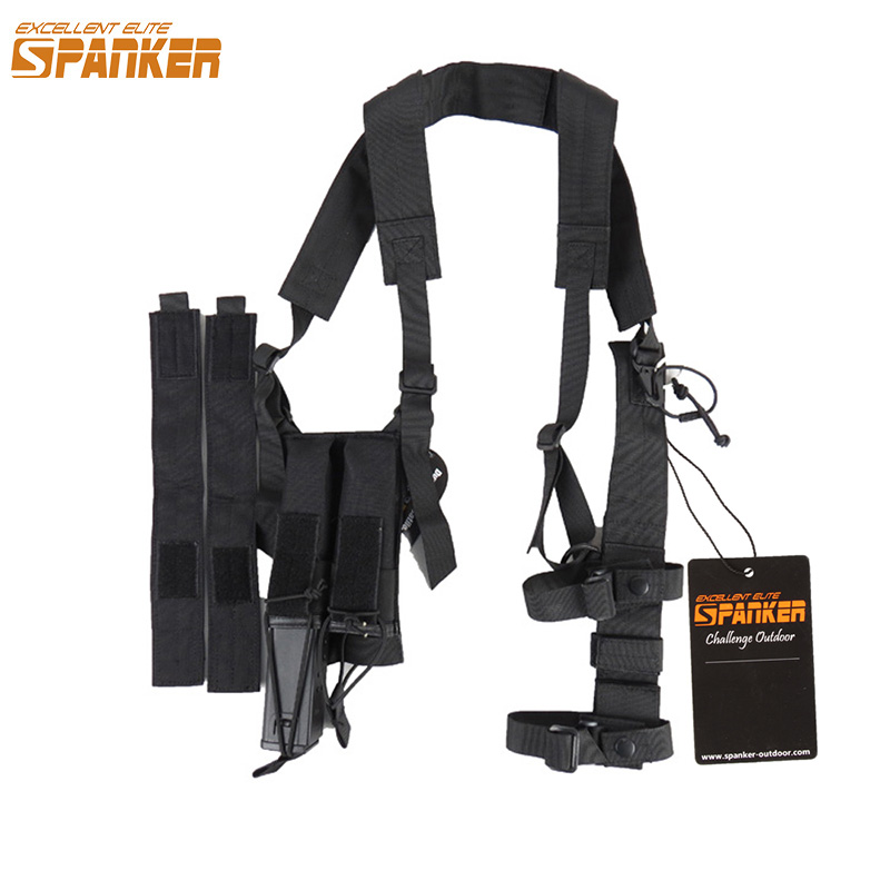 EXCELLENT ELITE SPANKER Tactical MP7 Shoulder Holster with Magazine Pouch Military Hunting Universal Armpit Rig Suit Equipment excellent elite spanker military vertical id card credit card tactical holder two in one with adjustable