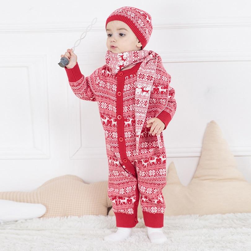 3Pcs Baby Sets Long Sleeve Baby Romper 2017 Autumn Winter Unisex Newborn Baby Kids Cotton Deer Pattern Infant Baby Clothing