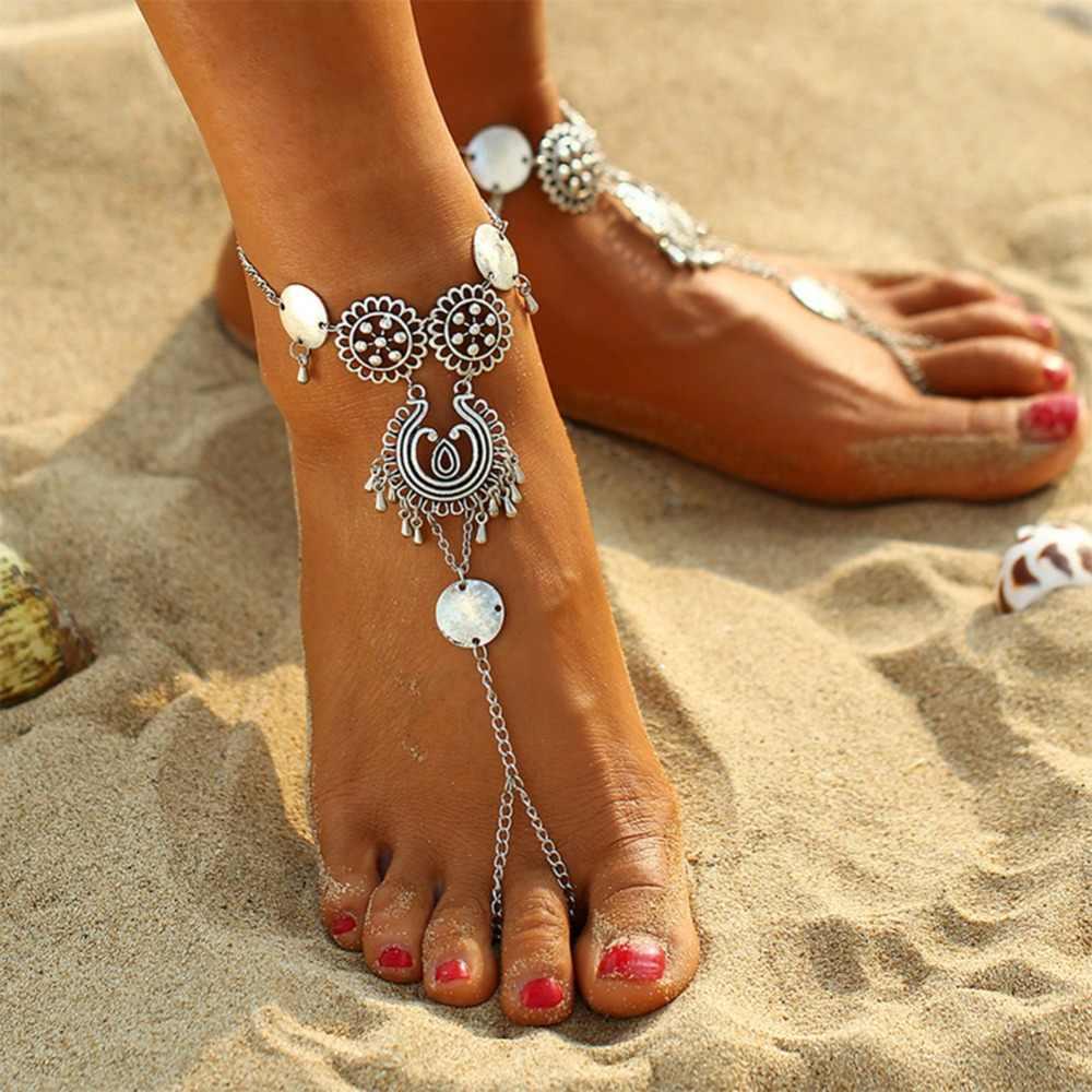 Kadın bohem tarzı çiçek Boho Chic Zincir Halhal Hint Takı Plaj ayak takısı Sandalet Yalınayak yarım çizmeler #237431